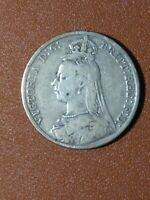 GREAT BRITAIN 1891 SILVER QUEEN VICTORIA  CROWN COIN
