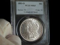 PCGS 1881-O MINT STATE 63 MORGAN SILVER DOLLAR  COIN  LUSTER.