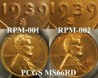 1939 S/S LINCOLN CENT  RPM 001 PCGS MS66RD  RPM & DDO BLAZING RED GEM
