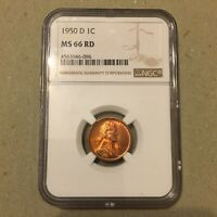 1950-D LINCOLN WHEAT CENT NGC MINT STATE 66 RD