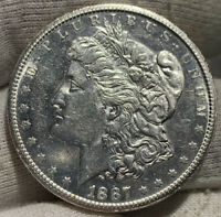 1887-S MORGAN SILVER DOLLAR AU DETAILS WIPED BUT SOME LUSTER REMAINS BOOK