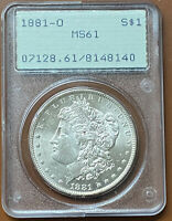 1881-O MORGAN SILVER DOLLAR PCGS MINT STATE 62 MINT STATE 62 OGH RATTLER OLD GREEN COIN - TCCCX