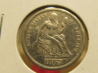 AU 1867-S SEATED DIME  DIFFICULT TO FIND IN HIGH GRADE  QAGB
