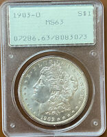 1903-O MORGAN SILVER DOLLAR PCGS MINT STATE 63 MINT STATE 63 OGH RATTLER OLD GREEN COIN - TCCCX