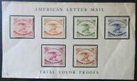 US SCOTT 5L1 SIX DIFFERENT AMERICAN LETTER MAIL TRIAL COLOR