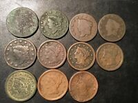 LARGE CENT LOT 1810 1856 11 COINS NICE TYPE COIN LOT