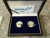 2017 BVI 2 COIN SILVER PEGASUS PROOF REVERSE PROOF SET W/ WOODEN BOX   ONLY 300