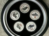 NEW ZEALAND GREAT MOTORCYCLES OF THE 1930'S 5 X 1 OZ SILVER PROOF COIN SET TIRE