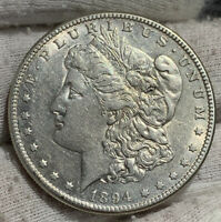 1894-S MORGAN SILVER DOLLAR AU CLND SOME LUSTER REMAINS PERFECT FOR BOOK