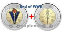 NEW  2020 75TH ANNIVERSARY END OF WWII TOONIE $2 COLOR   NO COLOR CANADA COIN