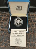 1987 ROYAL MINT OAK TREE SILVER PROOF ONE POUND 1 COIN CASED
