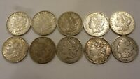 LOT OF 10 1884-P TO-1901-0 US $1 MORGAN SILVER DOLLARS  FINE TO EXTRA FINE