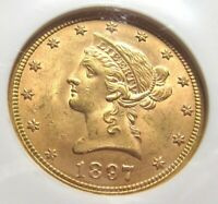 1897 P EAGLE  $10  GOLD COIN GRADED MS63 BY NGC