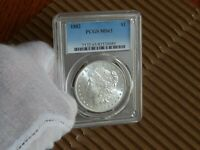 PCGS 1882-P MINT STATE 63 MORGAN SILVER DOLLAR  COIN  LUSTER.