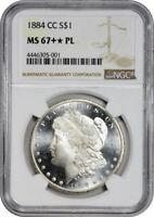 1884-CC $1 MORGAN SILVER DOLLAR NGC MINT STATE 67 PL PROOF LIKE SHOULD BE MINT STATE 68