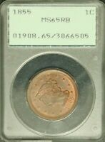 1855 1C PCGS MINT STATE 65 RED BROWN UPRIGHT 55 BRAIDED HAIR LARGE CENT COIN OGH 6505