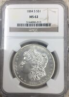 1884-S MORGAN SILVER DOLLAR, NGC MINT STATE 62, BLAZING BEAUTY