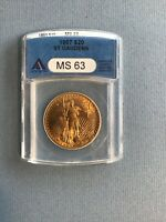 1907 GOLD $20 ST GAUDENS DOUBLE EAGLE COIN ANACS MS63