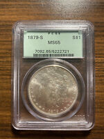 1879-S MORGAN SILVER DOLLAR $1 PCGS MINT STATE 65 OLD GREEN HOLDER OGH