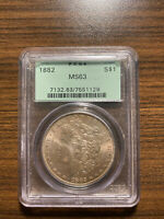 1882-P MORGAN SILVER DOLLAR $1 PCGS MINT STATE 63 OLD GREEN HOLDER OGH