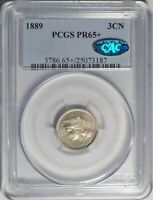 1889 3CN PCGS PR 65 CAC GEM PLUS PROOF THREE CENT NICKEL TYPE COIN