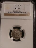 1871 3CN 3 CENT NICKEL NGC MINT STATE 65 GEM COIN BU THREE CENT NICKEL