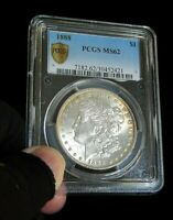 P/Q. PCGS 1888-P MINT STATE 62 MORGAN SILVER DOLLAR  COIN  LUSTER.