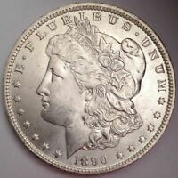 1890-O MORGAN DOLLAR - VAM-36 1 TOP IN DENTICLES, GOUGE/ETCHED BAND EAGLE'S WING