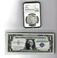 1904-O $1 MORGAN SILVER DOLLAR NGC MINT STATE 64 & 1957A $1 SILVER CERTIFICATE LOT 1 EA