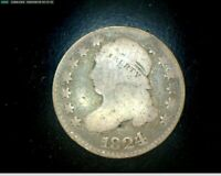 1824 OVER 2 CAPPED BUST DIME GOOD