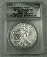 2016-W BURNISHED SILVER EAGLE CERTIFIED ANACS SP 70