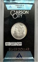 1884 CC MORGAN SILVER DOLLAR ANACS MINT STATE 63 VAM 4B SPIKED DATE VARIETY COIN