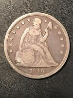 1846 SEATED DOLLAR  ORIGINAL FINE CONDITION GREAT TYPE COIN