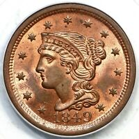 1849 N-22 PCGS MINT STATE 65 RB CAC BRAIDED HAIR LARGE CENT COIN 1C