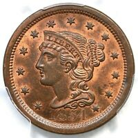 1854 N-26 R-3 PCGS MINT STATE 65 RB CAC BRAIDED HAIR LARGE CENT COIN 1C