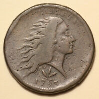 1793 S 9 WREATH LARGE CENT COIN 1C FLOWING HAIR