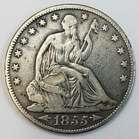 1855 O US SEATED LIBERTY SILVER HALF DOLLAR 50C BETTER DATE  COIN  SLH5528