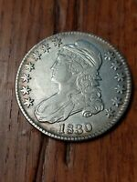 1830 CAPPED BUST HALF DOLLAR LARGE 0 IN DATE, LETTERED EDGE