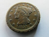1851 BRAIDED HAIR LARGE CENT PHILADELPHIA MINT 1C EARLY US COPPER COIN PENNY