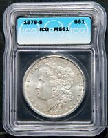 1878S MORGAN SILVER DOLLAR $1 COIN ICG MINT STATE 61