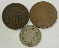 LOT OF  3  2C 3C CIVIL WAR COINS. 1864 & 1865 TWO CENT; 1865