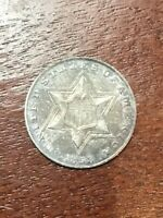 1858 THREE CENT SILVER SUPER NICE AU   VERY STRONG DEVICES B