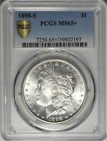 1898-S/S $1 PCGS MINT STATE 65 GEM PLUS UNCIRCULATED MORGAN SILVER DOLLAR VAM-7A COIN