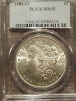 1884 O MORGAN SILVER DOLLAR PCGS MINT STATE 65 VAM11 DOUBLED 18, O/O RIGHT