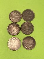 CANADA 1875 1880 1884 1901 1904 SILVER 5 CENT COIN LOT OF 6