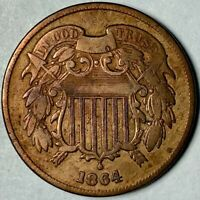 1864 TWO 2 CENT PIECE  LARGE MOTTO FINE CONDITION
