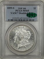 1899-S $1 MORGAN SILVER DOLLAR MINT STATE 65 PCGS CAC 14101317 VAM-7 DOUBLED DATE