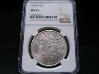 1897-S MINT STATE 65 MORGAN SILVER DOLLAR NGC CERTIFIED GEM - WHITE/PQ