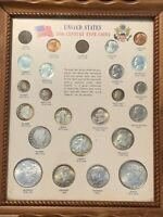 20TH CENTURY TYPE COIN SET FRAMED MORGAN PEACE LIBERTY 24 CO
