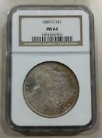 1885-O MORGAN SILVER DOLLAR GRADEDMINT STATE 64 BY NGC PARTIALLY TINTED ON FRONT